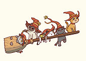 Vector illustration of five cute cats wearing witch hat and flying on a magical broomstick. Cats and broom separated in their respective layers in the vector file.