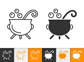 Witch Cauldron simple black line vector icon
