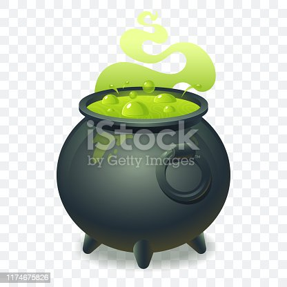 Witch cauldron with bubbling green liquid isolated on transparent background. Magic potion. Symbol of witchcraft. Dark boiling cauldron. Traditional halloween element. Vector illustration.