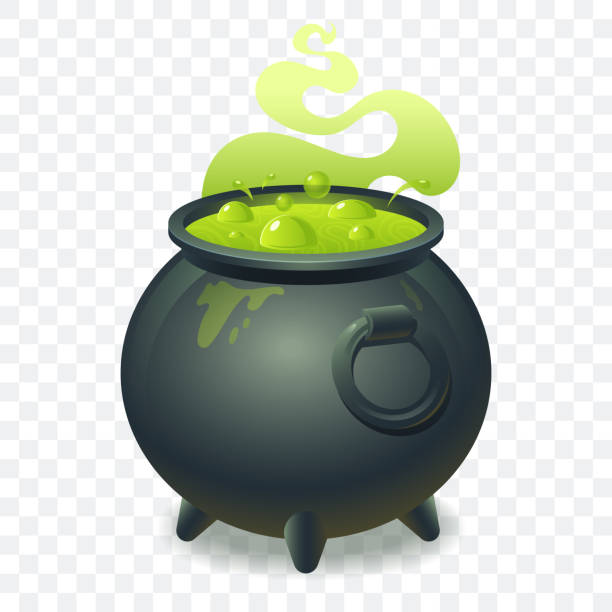 Witch cauldron with bubbling green liquid isolated on transparent background. Magic potion. Symbol of witchcraft. Dark boiling cauldron. Traditional halloween element. Vector illustration. vector art illustration