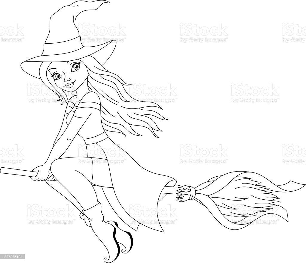 Página Para Colorear De Brujas Illustracion Libre de Derechos ...