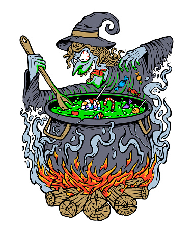 Witch cooking halloween candy illustration