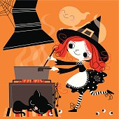Witch,Black Kitten and Ghost in the Kitchen