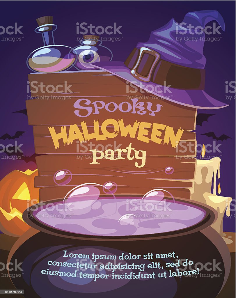 Witch crafting pot. Halloween card\\poster. Vector illustration. vector art illustration