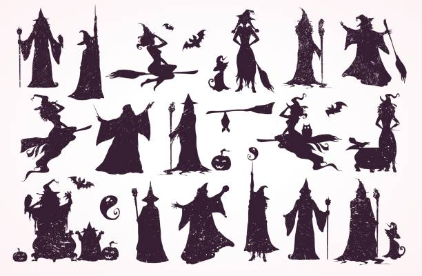 Witch crator, witches and wizard collection. Happy Halloween cards, patterns, decorations. vector art illustration