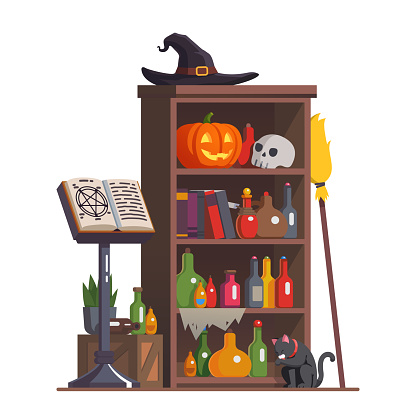 Witch cupboard with accessories, potion bottles, witch hat, carved face Halloween pumpkin, scull and books. Grimoire spell book on a stand and broom. Flat style isolated vector