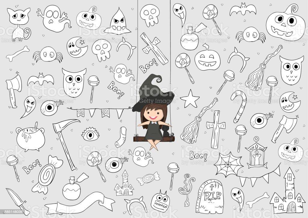 Hexesüß Und Schwarze Katzefahrt Auf Den Schwingenden Halloween