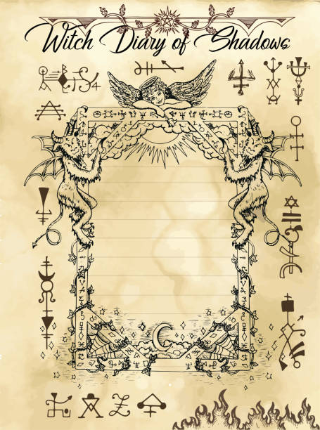 Witch diary page 10 of 31 with gothic frame, devil, angel and evil dark symbols Magic wiccan old book with occult illustration, mystic vector background voodoo stock illustrations