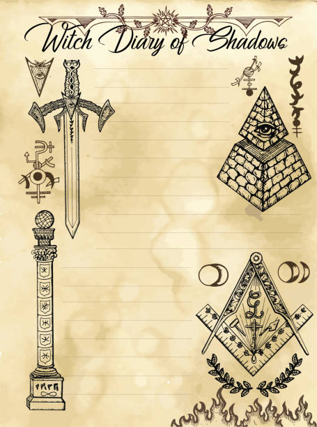 witch diary page 31 of 31 with freemasonry and secret society symbols and signs - freemasons stock illustrations
