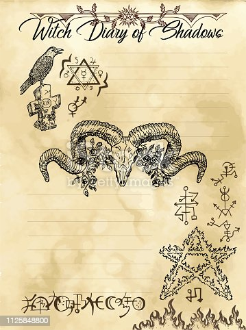 istock Witch diary page 5 of 31 with devil, pentagram, crow and evil symbols 1125848800