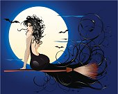 Vector illustration of a witch flaying on broom at halloween night with moon and bats at the back. Large JPEG included.