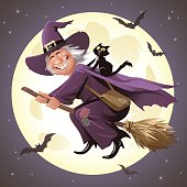 Vector illustration of a smiling old witch with a black cat on her back flying on her broom in front of a full moon.