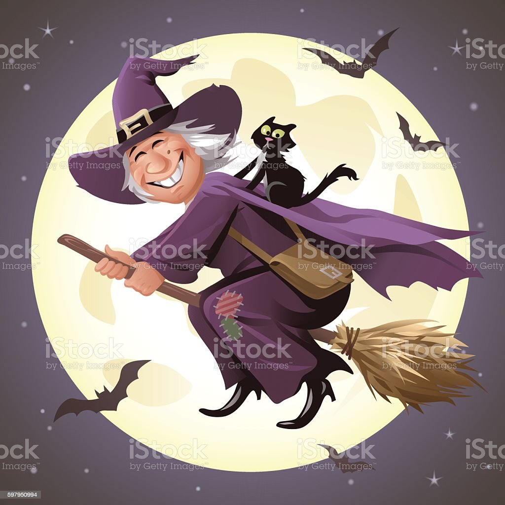 Witch Flying On A Broom In Front Of Full Moon vector art illustration