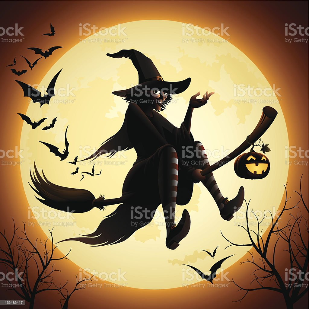 Witch flying on a broomstick and bats royalty-free stock vector art
