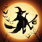 Witch flying on a broomstick and bats