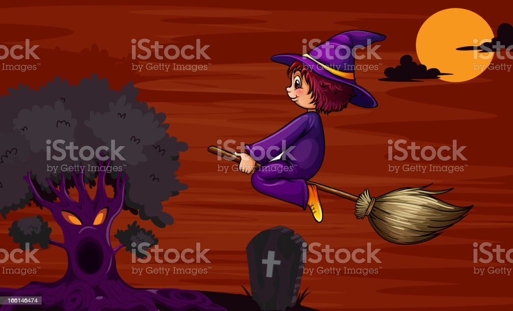 Witch flying on broom royalty-free stock vector art