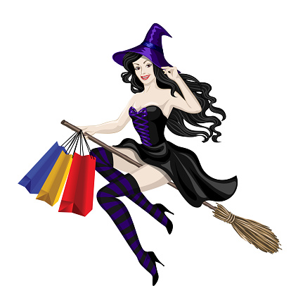 Witch flying with shopping bags