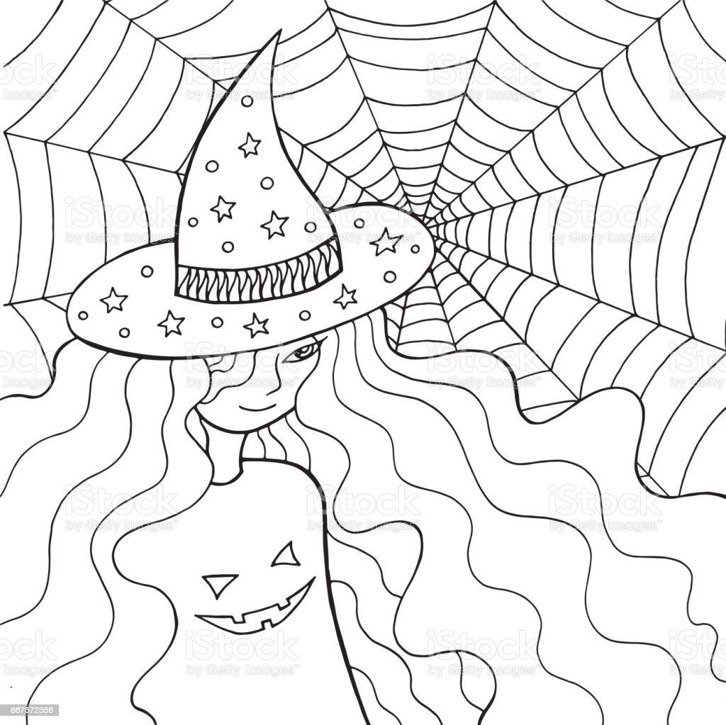 Hexe Mädchen In Den Hut Und Web Malvorlagen Für Erwachsene Doodle
