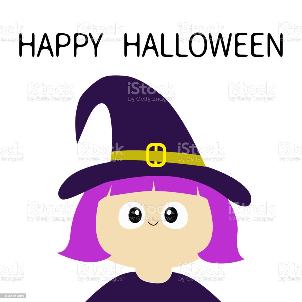 Halloween Cartoon Witch Face.Witch Girl Wearing Curl Hat Happy Halloween Cartoon Funny Spooky