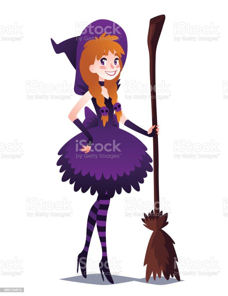 Hexe Mädchen mit Besen. Nette junge Frau im Stil der Zauberin für Halloween-Party gehen. Vektor. – Vektorgrafik