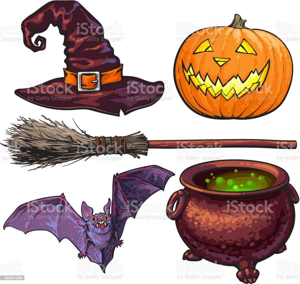 Hexe Halloween Zubehör Hut Kessel Jackolaterne Besen Fledermaus ...
