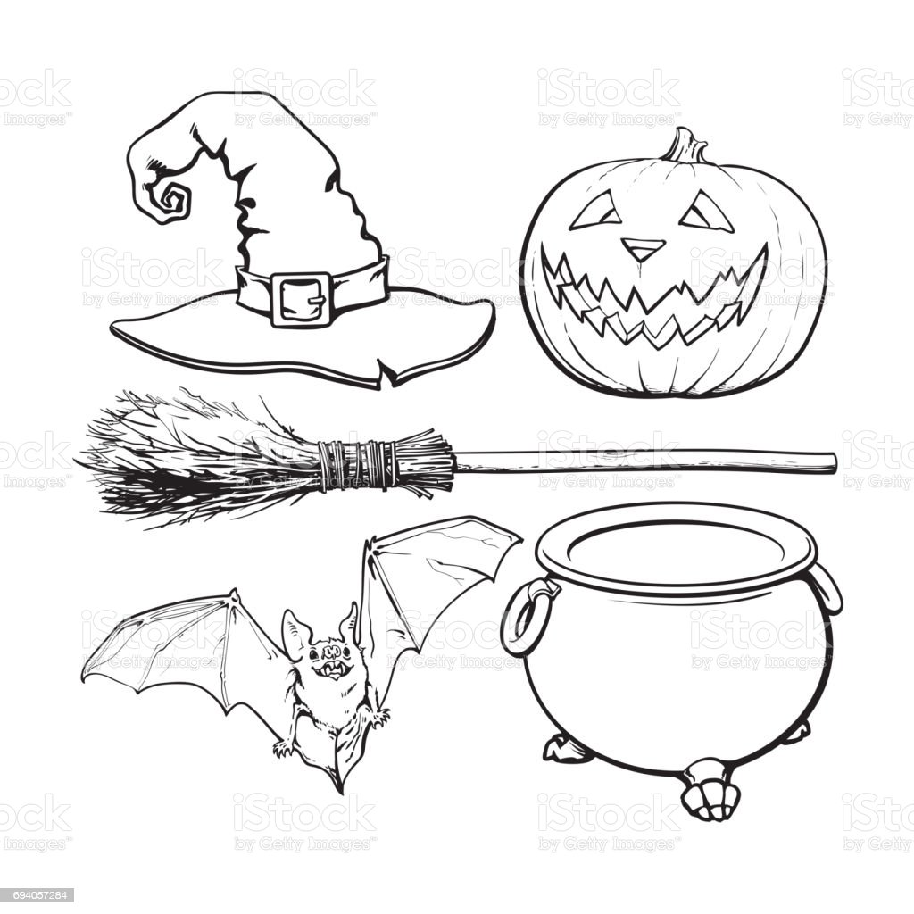 witch halloween accessories hat caldron jack o lantern broom bat