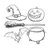 Witch, Halloween accessories - hat, caldron, jack o lantern, broom, bat