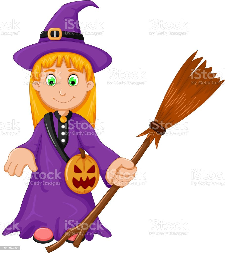 witch Halloween Cartoon with broom and pumpkin bag witch halloween cartoon with broom and pumpkin bag – cliparts vectoriels et plus d'images de balai libre de droits