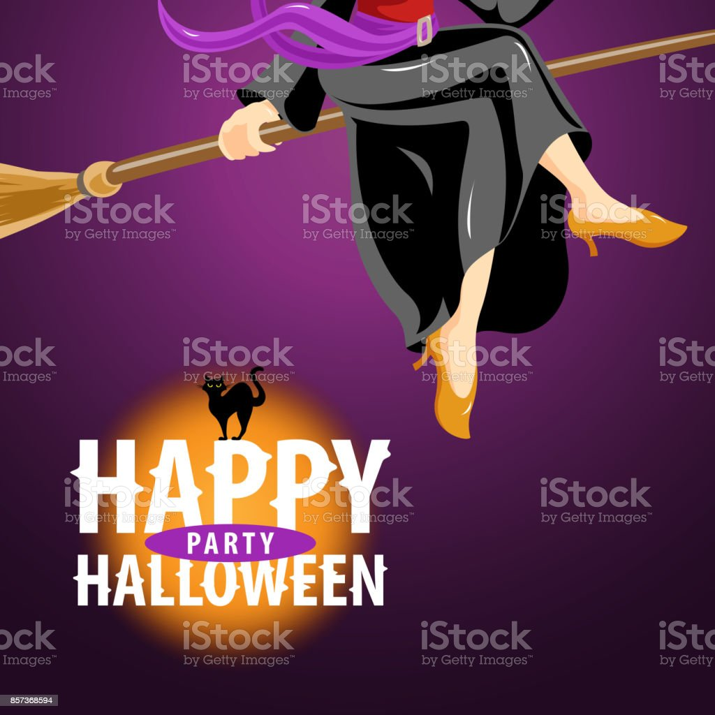 Witch Halloween Party Invitations Stock Vector Art & More Images of ...
