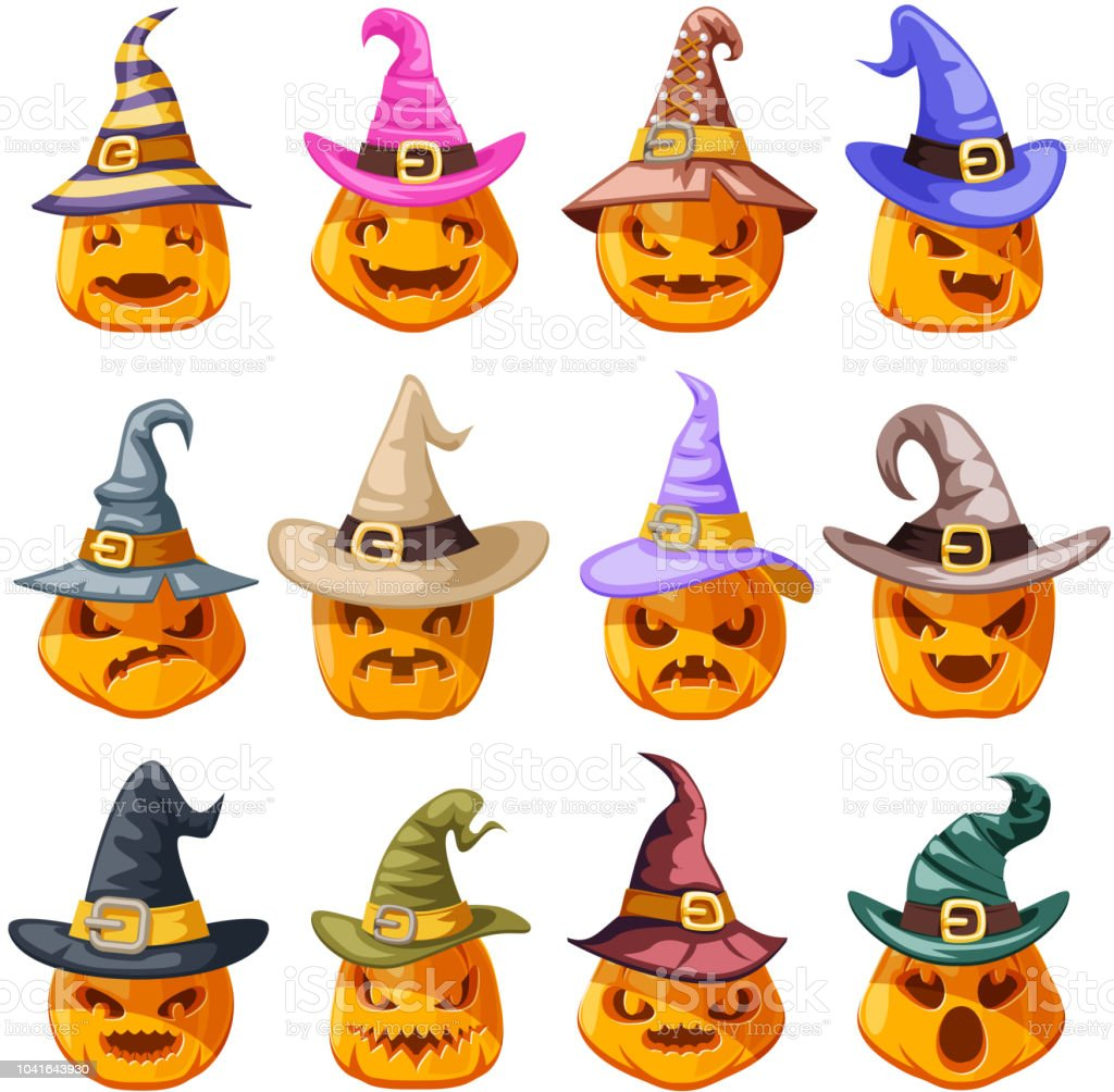 Sorcière chapeau décoration halloween jack o lanterne citrouille visages effrayants sourire emoji icônes cartoon isolé set design illustration vectorielle - Illustration vectorielle