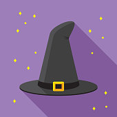 istock Witch Hat Icon Flat 1026765976