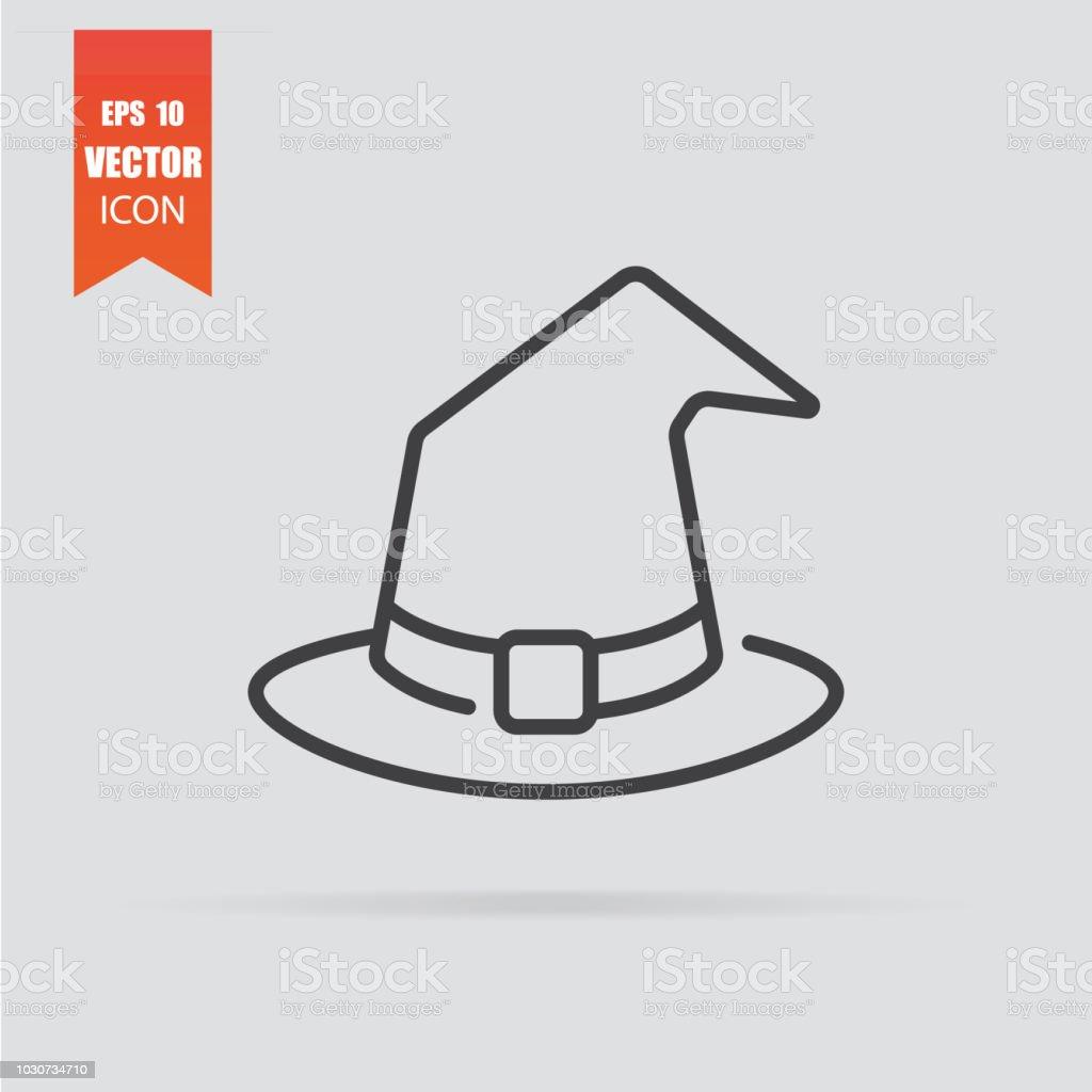 1adc076d437c8 Icono de sombrero de bruja en estilo plano aislado sobre fondo gris.  ilustración de icono