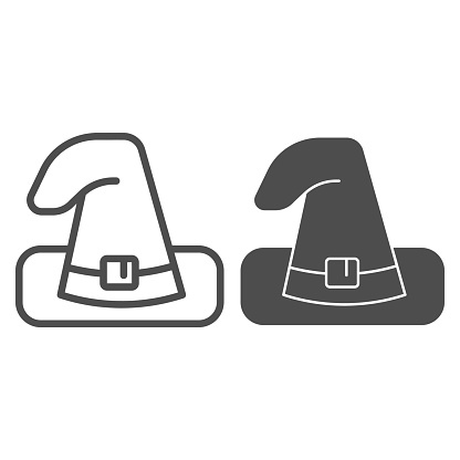 Witch hat line and solid icon. Wizard black magic cap. Halloween party vector design concept, outline style pictogram on white background.