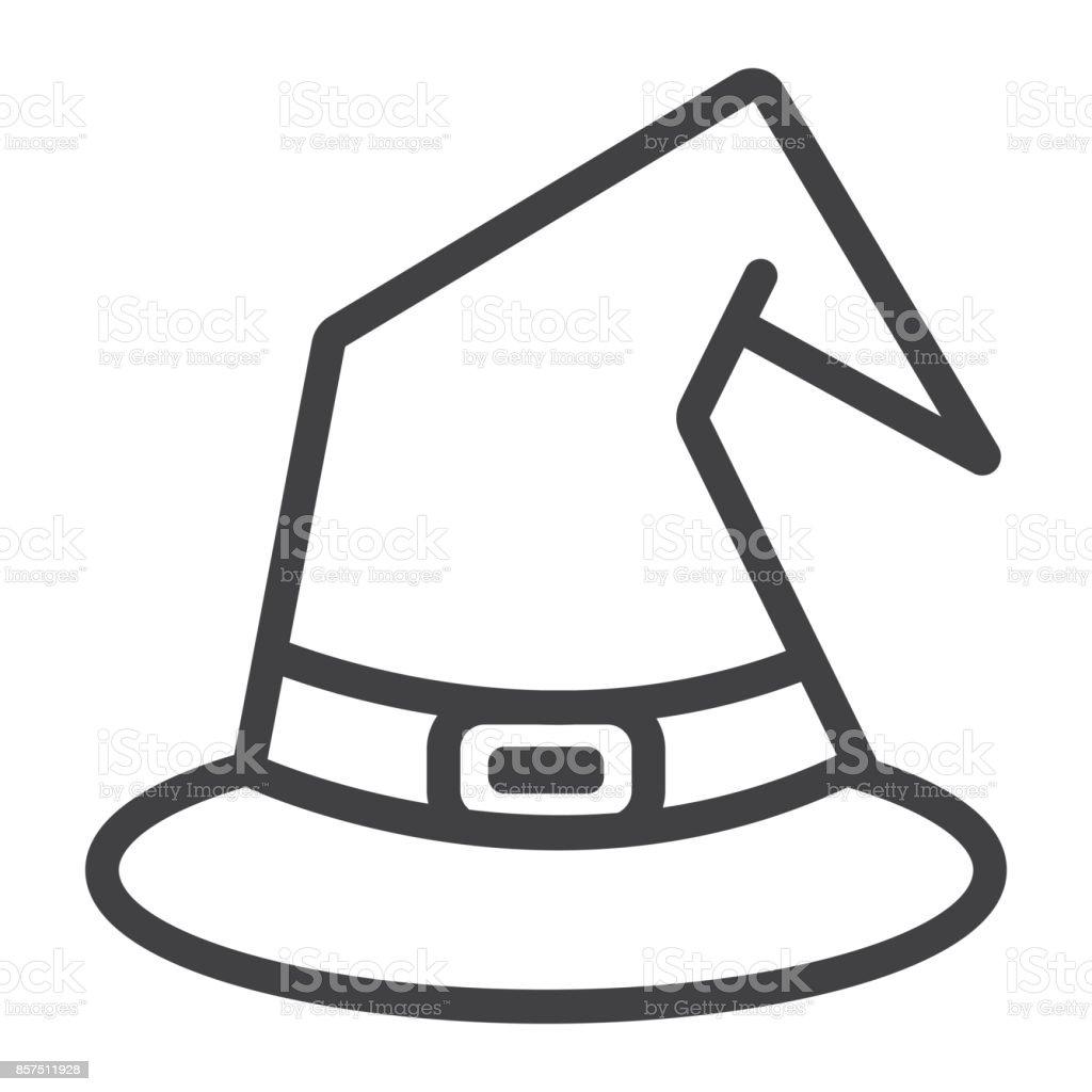 Icône De Ligne Pour Le Chapeau Sorcière Halloween Et Effrayant