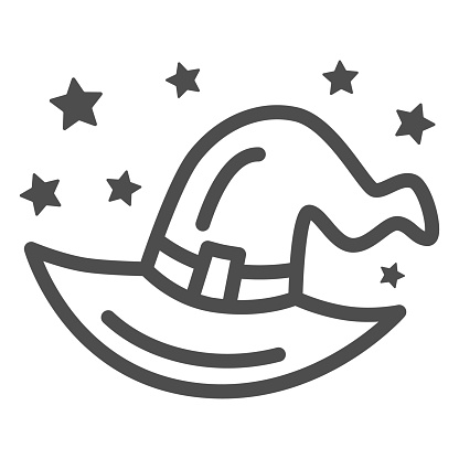 Witch hat line icon, Halloween concept, evil costume sign on white background, Halloween wizard hat with stars icon in outline style for mobile concept and web design. Vector graphics.