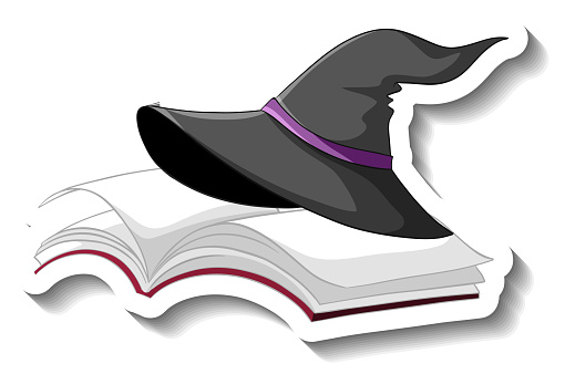Witch hat on the book cartoon sticker on white background