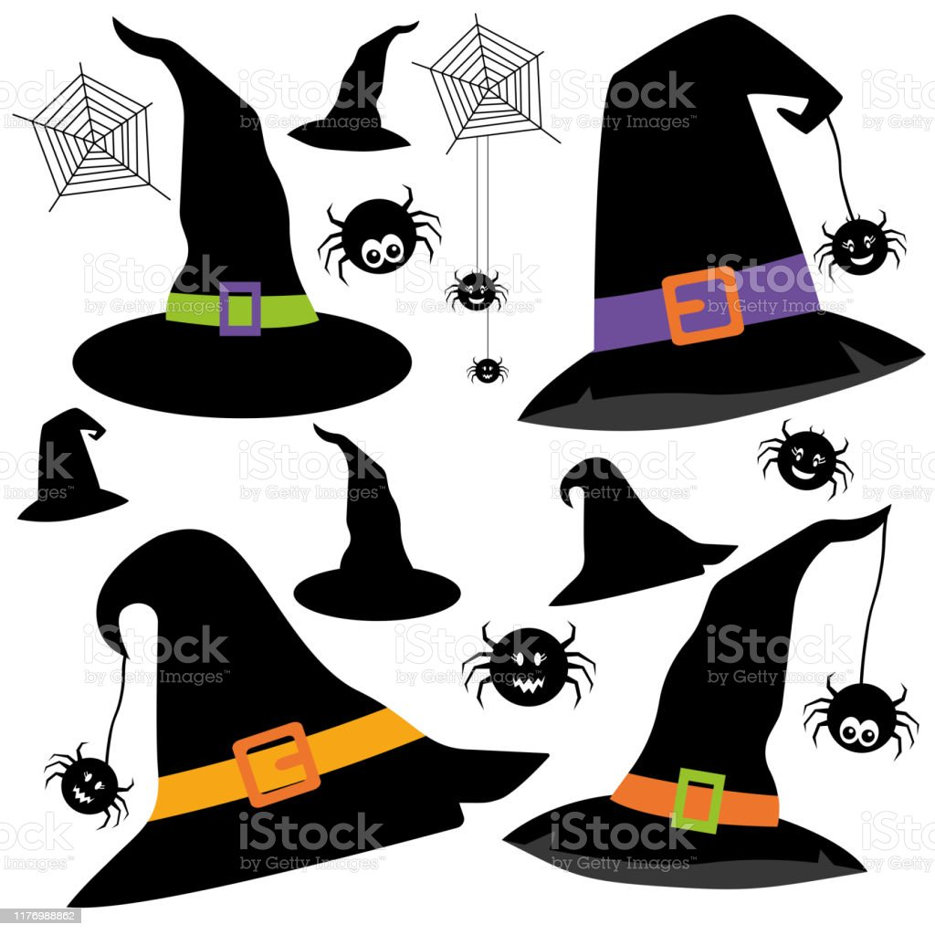 Witch Hat Svg Halloween Witch Hat Clipart Spiders Svg Stock Illustration Download Image Now Istock