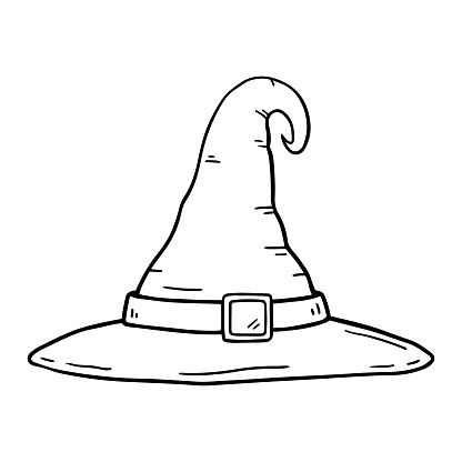 Witch hat with buckle isolated on white background in doodle style