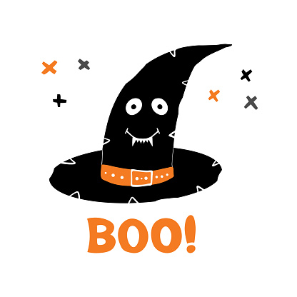 Witch hat with cute smiling face and boo word doodle cross elements. Holiday greeting card. Isolated on white background. Vector stock illustration.