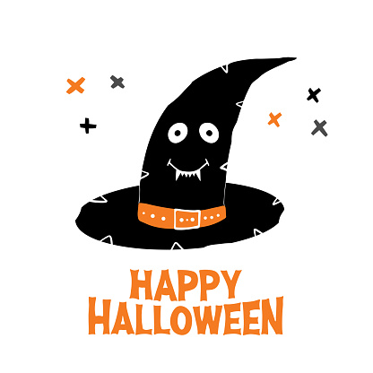 Witch hat with cute smiling face and Happy Halloween lettering and doodle cross elements. Holiday greeting card. Isolated on white background. Vector stock illustration.