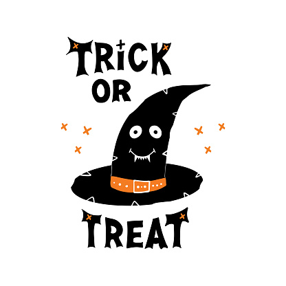 Witch hat with cute smiling face and Trick or treat lettering and doodle cross elements. Holiday greeting card. Isolated on white background. Vector stock illustration.