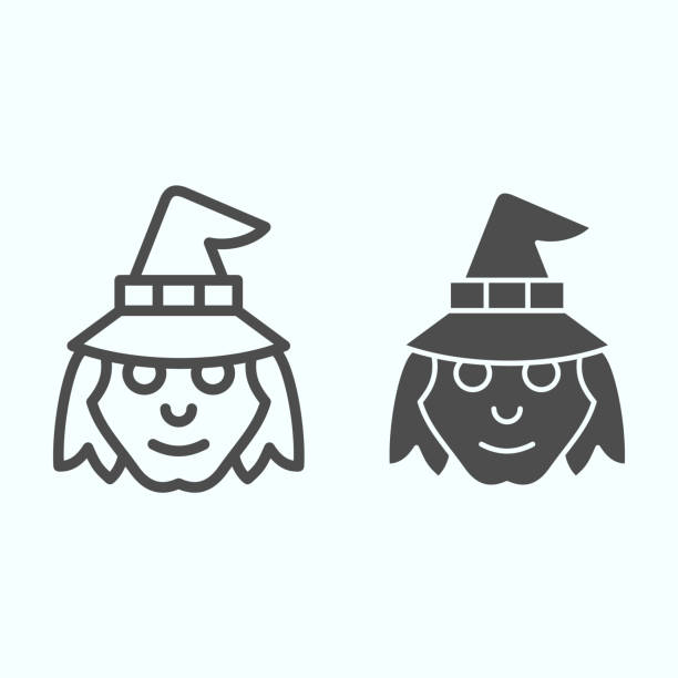 Witch head in hat line and solid icon. Woman with evil face silhouette. Halloween vector design concept, outline style pictogram on white background, use for web and app. Eps 10. Witch head in hat line and solid icon. Woman with evil face silhouette. Halloween vector design concept, outline style pictogram on white background, use for web and app. Eps 10 giant fictional character stock illustrations