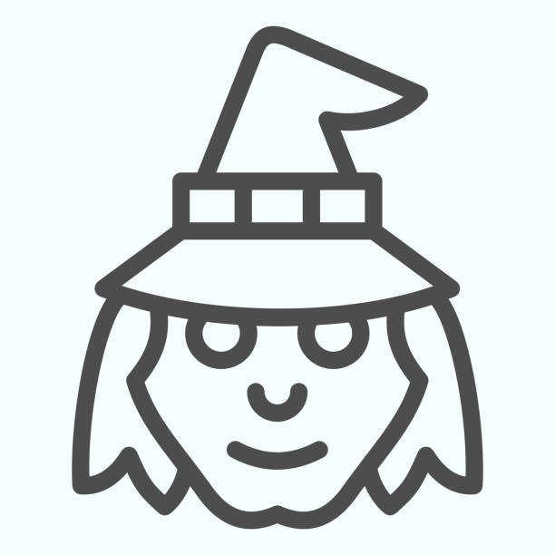 Witch head in hat line icon. Woman with evil face silhouette. Halloween vector design concept, outline style pictogram on white background, use for web and app. Eps 10. Witch head in hat line icon. Woman with evil face silhouette. Halloween vector design concept, outline style pictogram on white background, use for web and app. Eps 10 giant fictional character stock illustrations
