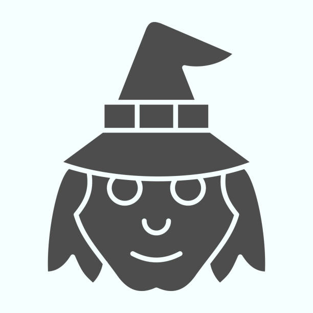 Witch head in hat solid icon. Woman with evil face silhouette. Halloween vector design concept, glyph style pictogram on white background, use for web and app. Eps 10. Witch head in hat solid icon. Woman with evil face silhouette. Halloween vector design concept, glyph style pictogram on white background, use for web and app. Eps 10 giant fictional character stock illustrations