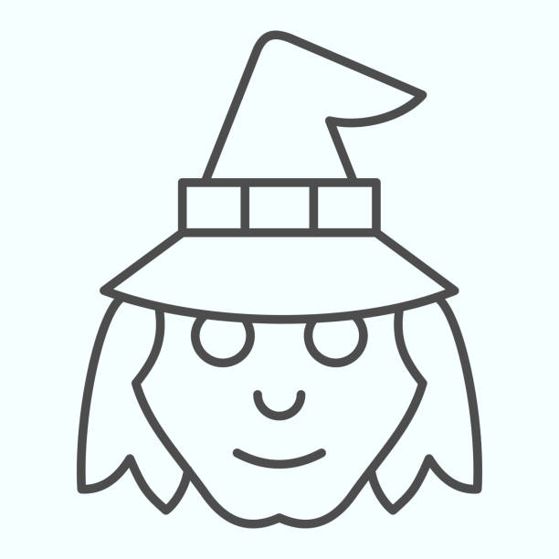 Witch head in hat thin line icon. Woman with evil face silhouette. Halloween vector design concept, outline style pictogram on white background, use for web and app. Eps 10. Witch head in hat thin line icon. Woman with evil face silhouette. Halloween vector design concept, outline style pictogram on white background, use for web and app. Eps 10 giant fictional character stock illustrations