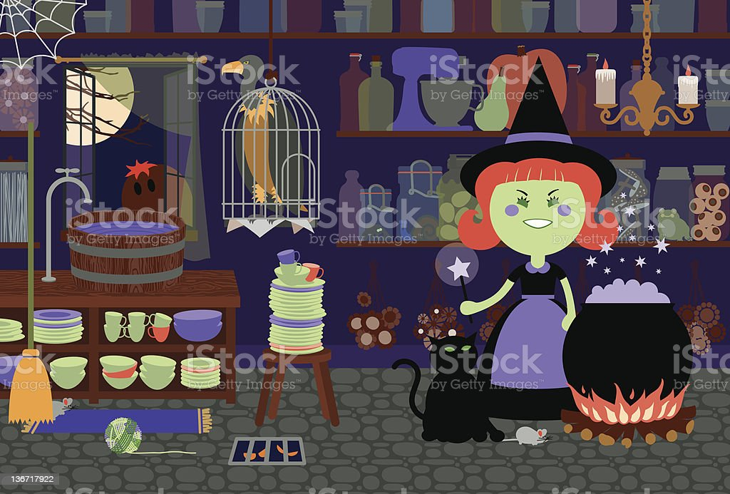 Witch in Her Kitchen royalty-free stock vector art