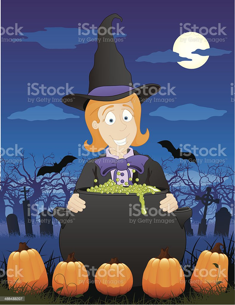 Witch in Pumpkin Patch royalty-free stock vector art