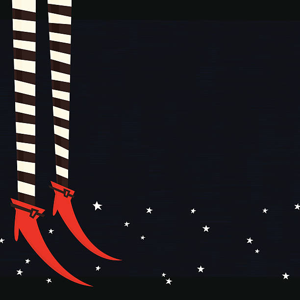 Witch legs vector art illustration