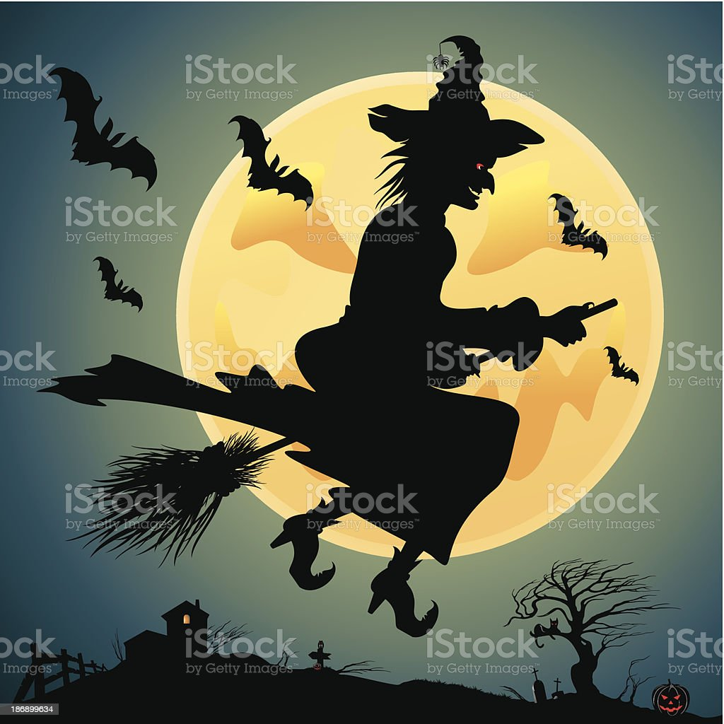 Witch on a broom royalty-free stock vector art