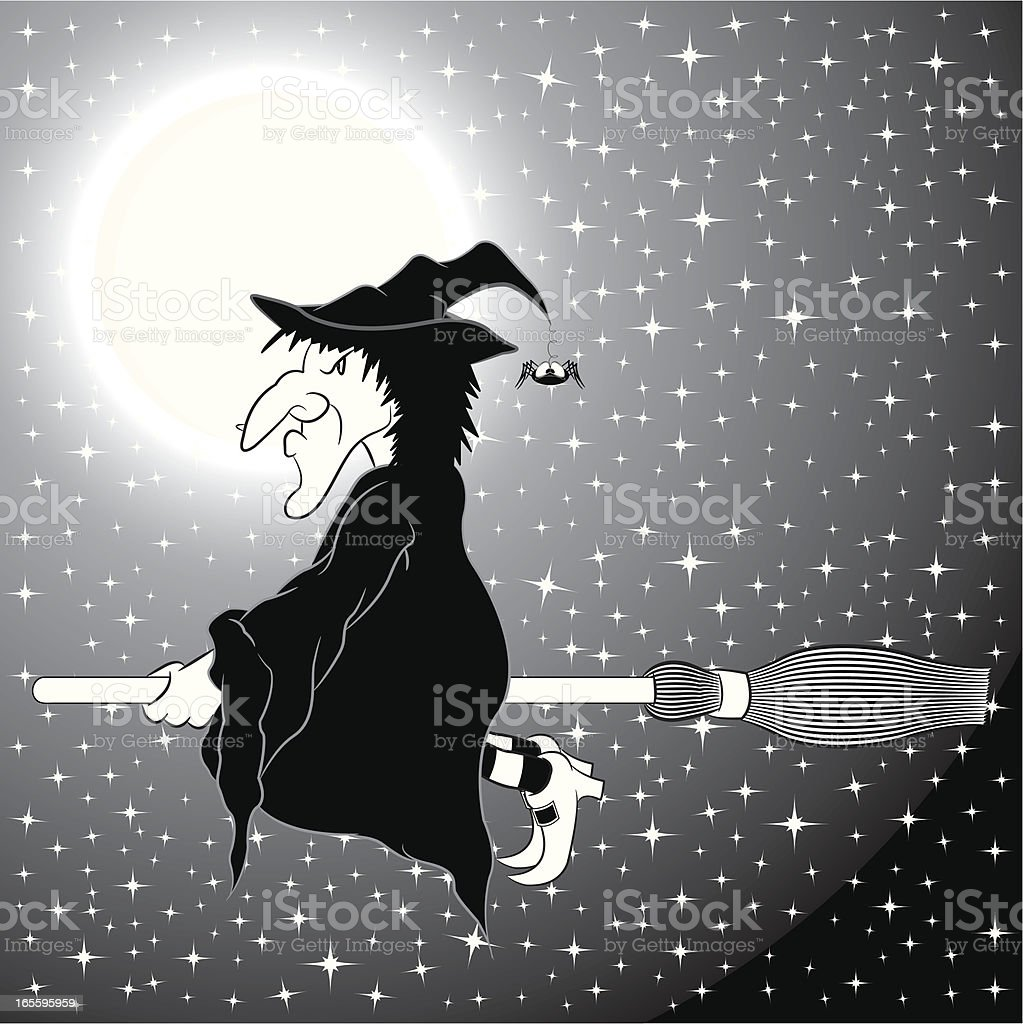 Witch On A Broomstick B&W royalty-free witch on a broomstick bw stock vector art & more images of broom